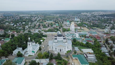 View of the Resurrection Cathedral from above. Panorama Arzamas, Russia, From Footage