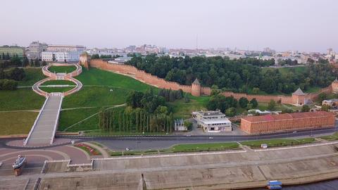 View of the Nizhny Novgorod Kremlin and Chkalov staircase. During the sunrise. Footage