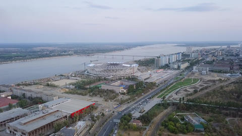 Construction of a stadium in the city of Volgograd for the 2018 World Cup in Footage