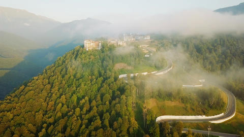 View from the air. Rosa Khutor, Krasnaya Polyana. Sochi, Russia, From Dron Live Action
