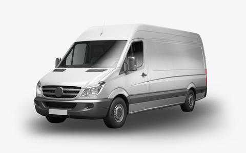 3D render van on a white background フォト