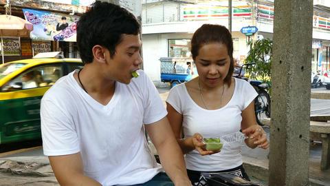 Girl gives her boyfriend khanom wan thai Footage