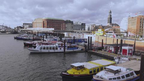 View over Hamburg harbor skyline and St. Michaelis church - HAMBURG, GERMANY DEC Footage