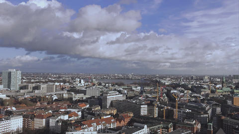 Aerial view over the city of Hamburg - HAMBURG, GERMANY DECEMBER 23, 2015 Footage
