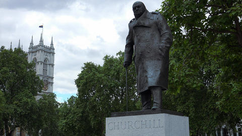 Winston Churchill statue in the city of Westminster Live Action