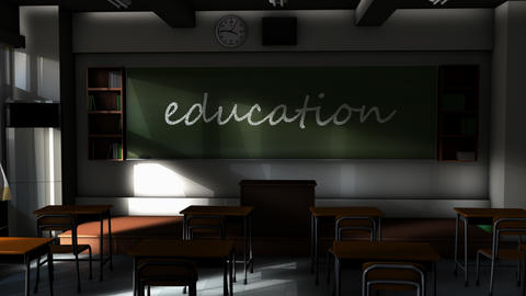 Empty classroom and Education text on the board Animation
