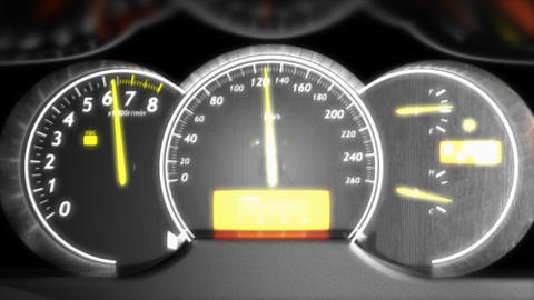 Car speed meter close up, dashboard, race Animation