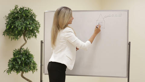 Smiling Female Business Trainer Draw Kids Drawing On A Whiteboard stock footage