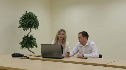 Sales manager talking to client, business presentation on laptop ビデオ