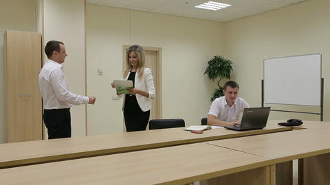 Businessman shaking hands to seal a deal with businesswoman Footage
