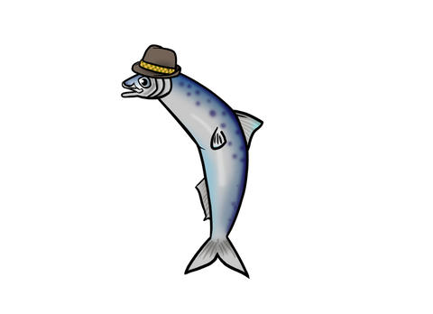 Sardine in hat singing giggling Animation