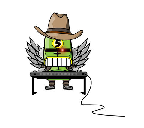 Robot in cowboy hat and angel wings playing keyboard Animation