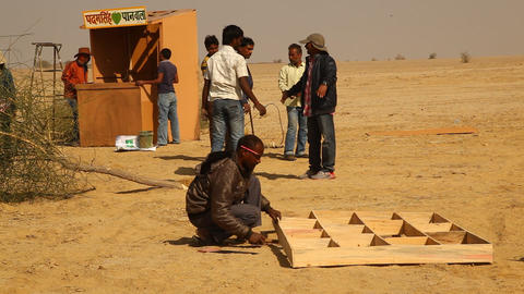 Indian People working in desert Footage