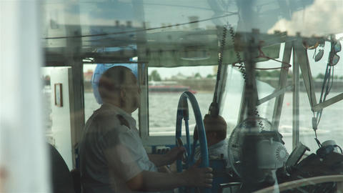 Ship Captain Steering His Ship Footage