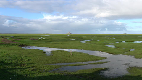 Broad grass field at low tide with Mont-Saint-Michel in the background Footage