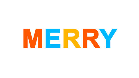 text MERRY from letters of different colors appears behind small squares. Then Animation