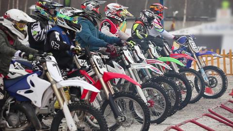 Motocross pre-start excitement Footage