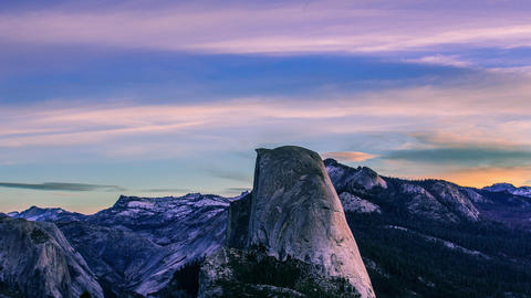 Time Lapse - Beautiful Clouds Moving Over Half Dome - 4K Footage
