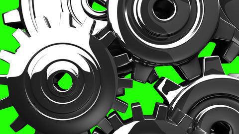Metal Gears On Green Chroma Key Animation