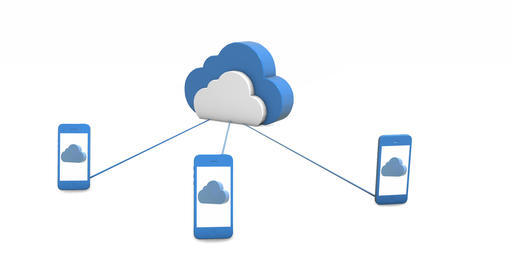 Smartphones connect to the cloud storage. Concept Image