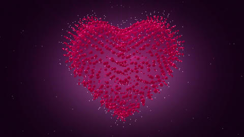 Valentines Day Heart 3D. Looped video. Heart of particles Animation