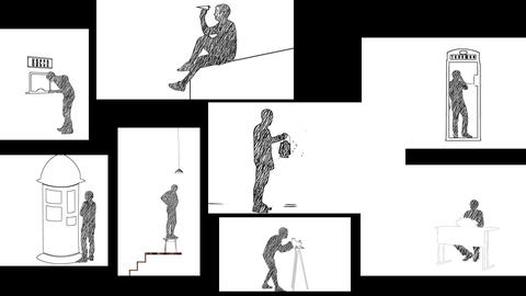 Animation of pencil people on paper. Pencil effect Animation