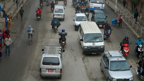The traffic on the streets in Kathmandu Footage