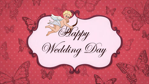 Happy Wedding Day - Vintage Greeting Card with Cupid Animation