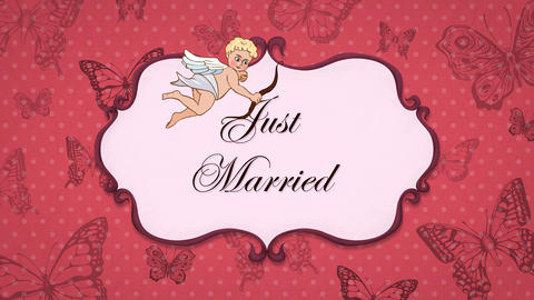 Just Married - Vintage Greeting Card with Cupid 애니메이션