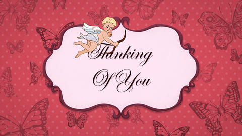 Thinking Of You - Vintage Greeting Card with Cupid 애니메이션