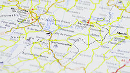 Map in spanish with cities named and roads rotating Footage