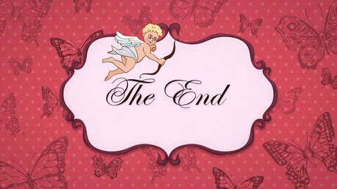 The End - Vintage Greeting Card with Cupid 애니메이션