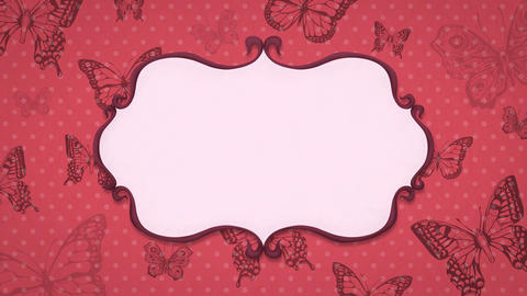 Vintage animated background with butterflies. Elegant frame Animación