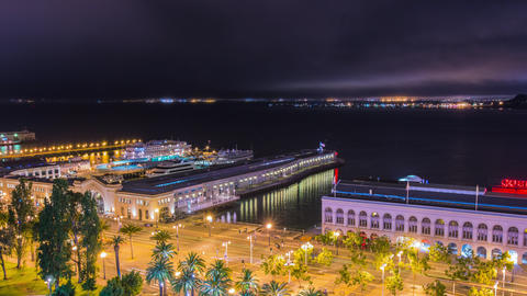 Time Lapse - Beautiful Night View of the Ferry Building in San Francisco - 4K Footage