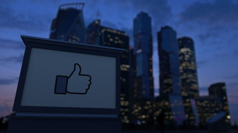 Street signage board with Facebook like button thumb up ビデオ