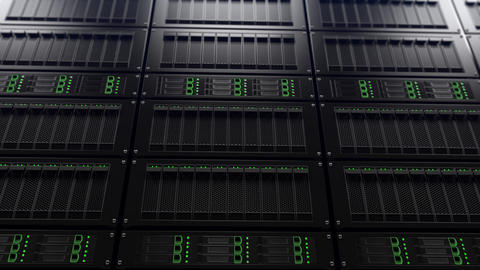 Modern server racks shallow focus dynamic tracking shot. Search concept Footage