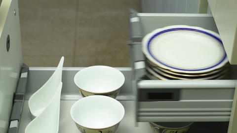 Drawers with crockery Footage