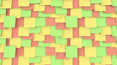 Multicolor post it stickers on the wall. Office work or reminder concepts. 4K Footage