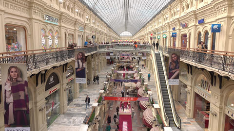 RUSSIA, MOSCOW - SEPTEMBER, 25, 2016. GUM - historic main department store on Footage