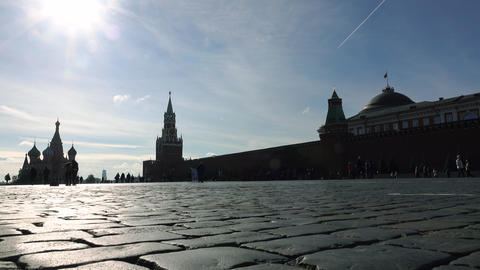 Unrecognizable tourists visiting Moscow Kremlin, Red square and Saint Basil's Footage