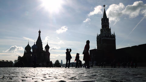 Silhouettes of tourists visiting Moscow Kremlin, Red square and Saint Basil's Footage