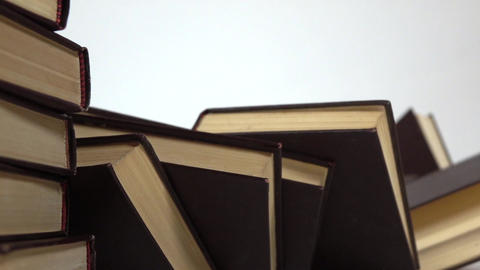 Falling stack of books super slow motion shot. Falling popularity or censorship Live Action