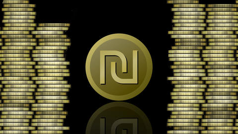 Currency animation, israeli shekel symbolic coin appearing , mirroring and Animation