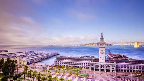 Time lapse - San Francisco Ferry Building with Ferries - 4K Footage