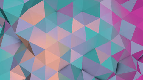 Pale colors low poly chaotic surface waving loop 3D animation 動畫