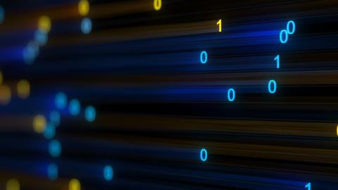 Digital binary data stream loopable animation render with DOF Animation