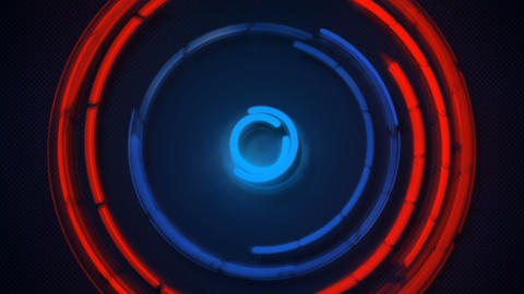 Blue and orange glowing circles spinning loopable animation Animation