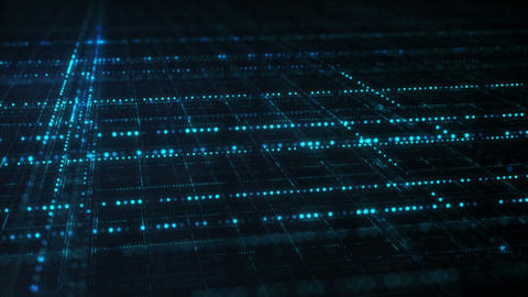 Blue sci-fi grid information technology concept seamless loop Animation