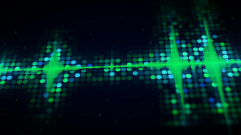 Green audio equalizer on digital monitor loopable animation Animation