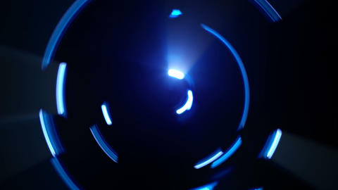 Blue neon light trails circle shapes seamless loop Footage